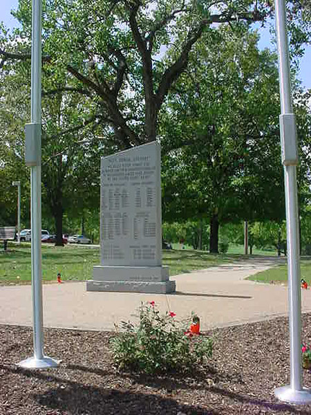 Battle of the Bulge Monument<br /> Jefferson Barracks - St. Louis, Missouri <br /> 9-06<br /> <br /> View of the back of the monument listing all groups involved in the Battle.