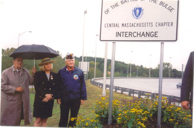 Shown here at the dedication is <br /> Kathy Israelian Fleming, daughter of the late Veteran Charles Israelian,  who recited a Tribute Poem; and John McAuliffe, President of the Central Mass. Chapter-22.