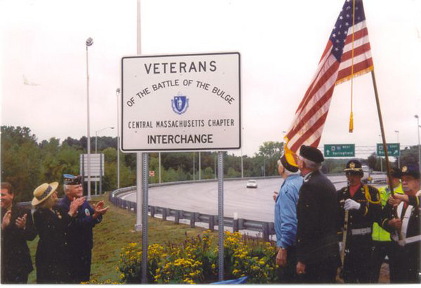 Edwin Reavy; 30th Infantry Division is unveiling the sign.<br /> <br /> Ed celebrated his 98th Birthday, and still going Strong ! <br /> <br /> At far left is Rep. John Fresolo, who for 2 years shepharded this Memorial through the Mass. State Legislature.
