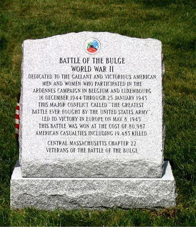 Memorial Walk at Winchendon Cemetery.<br /> 2nd of the two monuments dedicated by the Central Massachusetts Chapter 22 Veterans Of The Battle Of The Bulge.<br /> <br /> Photo credit to:<br /> John E. McAuliffe<br /> President of the Cent. Mass. Chapt-22.<br /> <br /> John served in M-347 of the <br /> 87th Inf. Div. WW-II.
