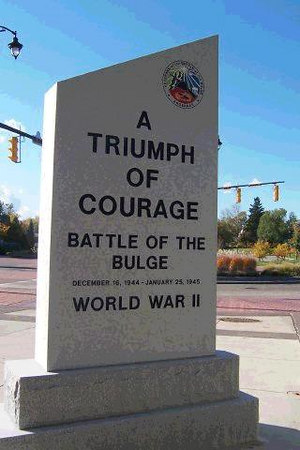 This is 1 of 2 pics - Rochester, New York.<br /> VBOB monument dedicated by the Genesee Valley Chapter <br /> (Rochester, NY) Veterans of the Battle of The Bulge.  <br /> October 15, 2005. <br /> <br /> In attendance were:<br /> John Foy A-347,   Mitch Kaidy D-345, <br /> Bill Statt E-347,   Frank Colgan, <br /> Jim Comstock HQ346,   Fred Kitson D-347, <br /> Bob Liming Hq 2 346.  <br /> <br /> See article by Mitch Kaidy under pic 2 of 2<br /> Rochester, New York.<br /> <br /> photo by John Foy