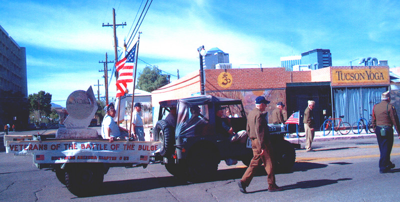 Veteran's of the Battle of the Bulge (VBOB)<br /> Chapter #53 - Southern Arizona members<br /> Veteran's Day Parade - November 11, 2006.<br /> <br /> Jeep and trailer with the <br /> replica VBOB Arizona Monument.