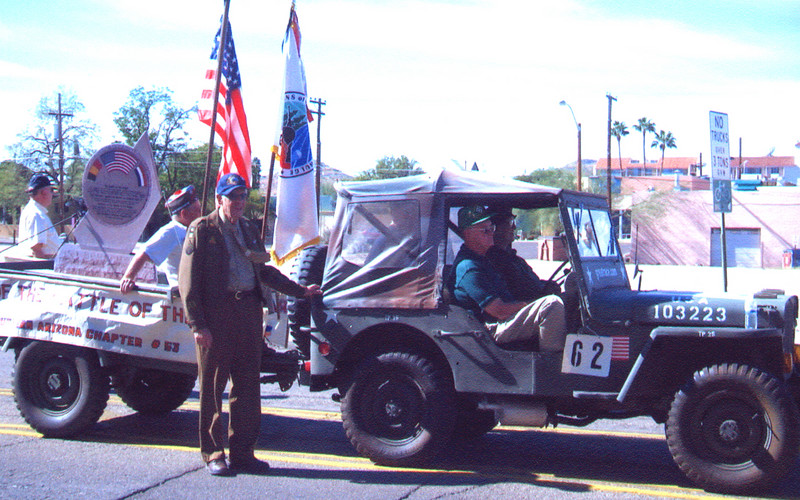 Veteran's of the Battle of the Bulge (VBOB)<br /> Chapter #53 - Southern Arizona members<br /> Veteran's Day Parade - November 11, 2006.<br /> <br /> Buck Bloomer, George McGee, Harper Coleman, and John Swett.
