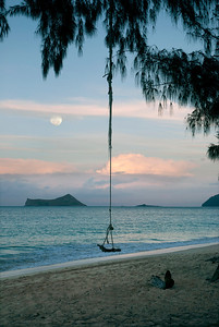 Full Moon Rising over Rabbit Island off Waimanalo Beach