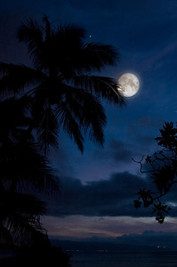 Full Moon over the North Shore  Lights of Hale'iwa in the distance  August 28, 2006