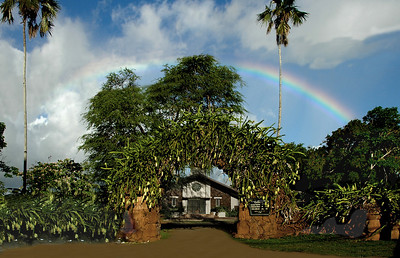 Rainbow over Liliu'okalani Protestant Church   Queen Lili'uokalani, the first ruling queen and the last ruling monarch, presented the church with an unique clock placed on the rear wall of the church. One of the clock's seven dials uses the 12 letters of Queen Lili'uokalani's name in place of the 12 numbers to show the time. The other dials show the phases of the moon, the days of the month, week and year.   Halei'wa, North Shore, O'ahu, Hawai'i
