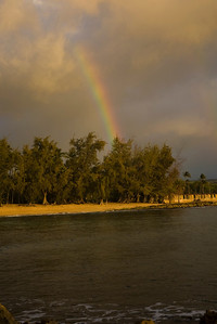 Rainbow over Hale'iwa Beach Park around sunset  North Shore of O'ahu, Hawai'i