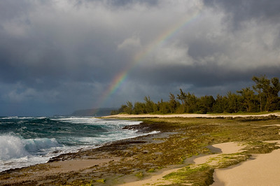 Rainbow over Puena Point  Beach  Hale'iwa North Shore of O'ahu, Hawai'i