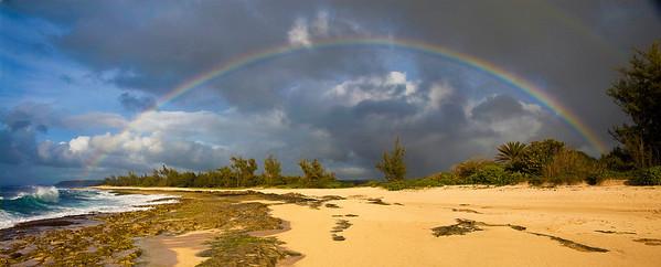 Rainbow over 'Police Beach' in Hale'iwa