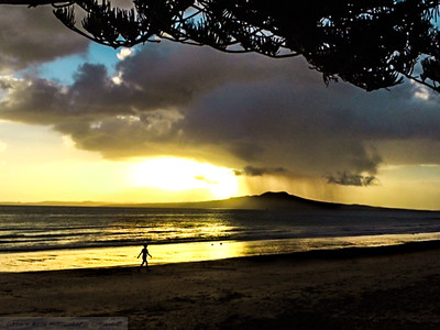 Morning Rain Shower over Rangitoto