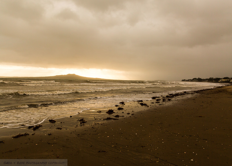 Early Morning in a storm on the beach