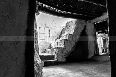 D38:The lighted staircase in the Dhankar Monastery seems to be calling the devout upwards towards nirvana,in Spiti,Himachal Pradesh