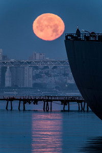 Moonset At Alameda Naval Air Station