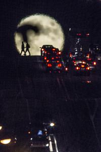 Moonrise over Cable Car Tracks — Sacramento Street