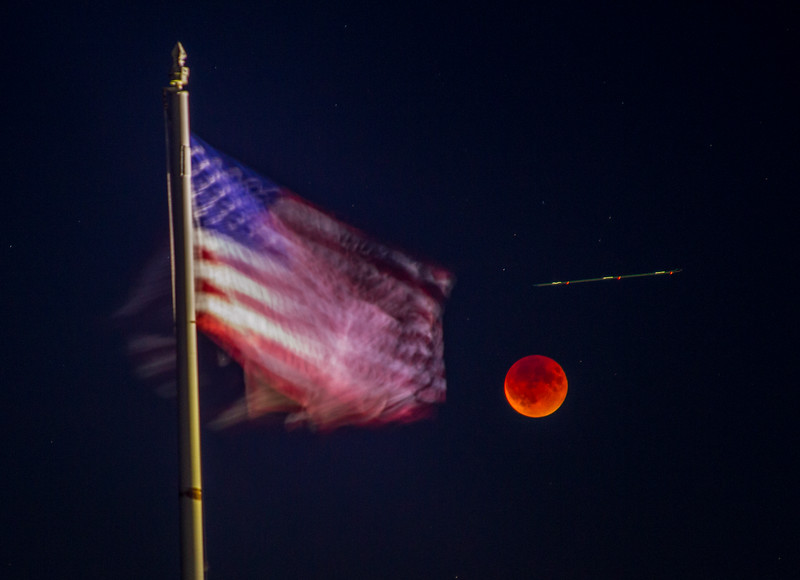 Stars and Stripes with Supermoon