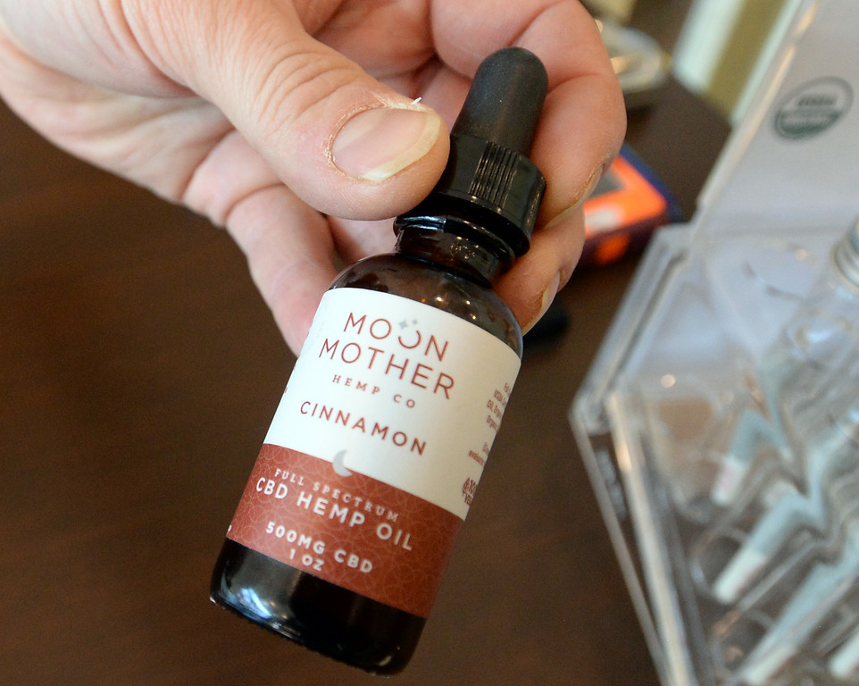 . BOULDER, CO - January 3, 2019: One of the CBD oils from the shop. Moon Mother Hemp Company, is a CBD boutique store in Boulder.  (Photo by Cliff Grassmick/Staff Photographer)