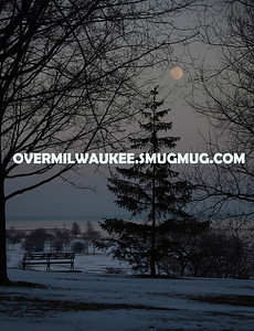 Moonrise from Juneau Park. Milwaukee, Wisconsin. February 24,2013.