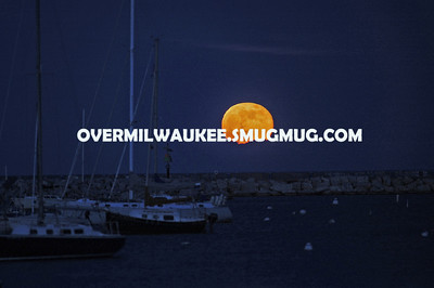 The Full Moon Rises Over McKinley Marina June 4, 2012. Milwaukee, WI