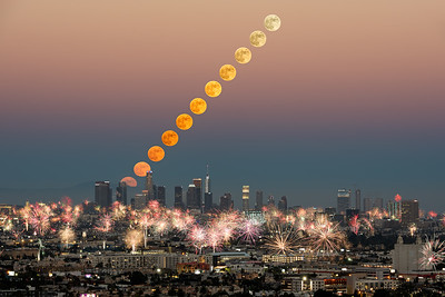 4th of July moonrise and fireworks over Los Angeles