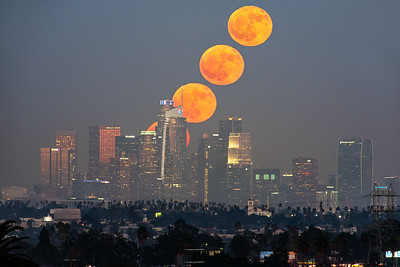 Hunter's moon rise sequence over Los Angeles