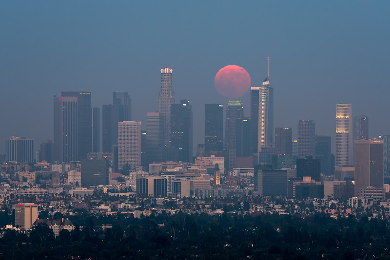 Full moon rising during twilight, Los Angeles, CA