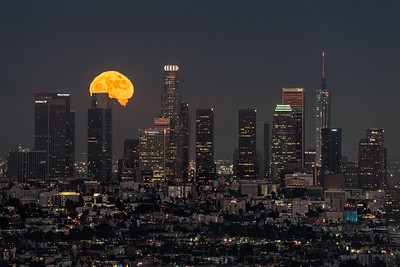 Super Strawberry moonrise behind Los Angeles from Hollywood