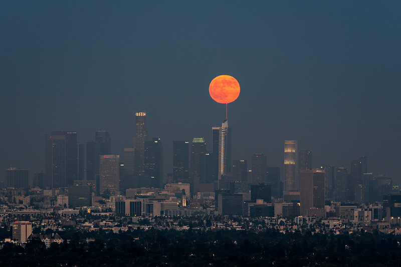 Full moon over Wilshire Grand Spire, Los Angeles