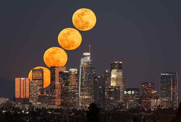 Super snow moon sequence over Los Angeles