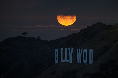 Super Worm Moon setting over the Hollywood sign, Los Angeles