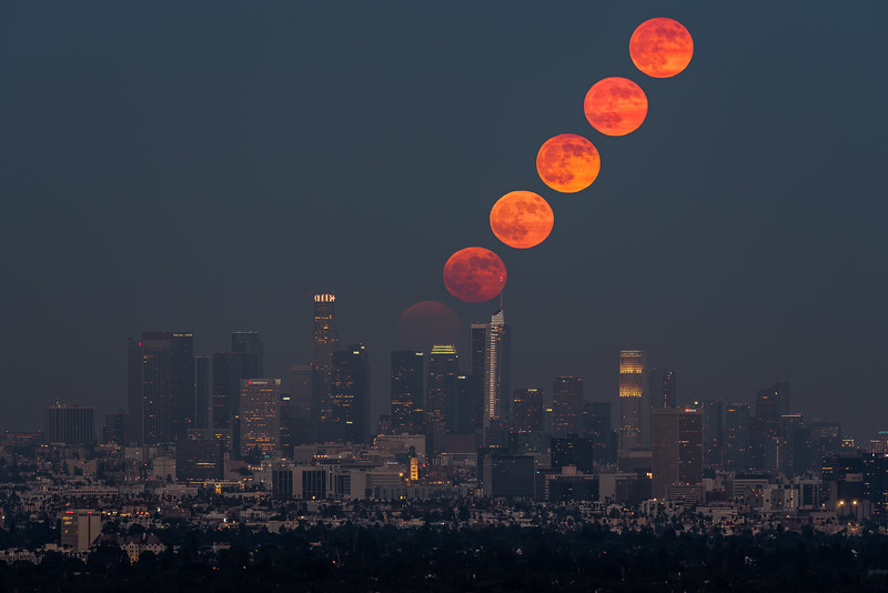 Full moonrise sequence over Los Angeles