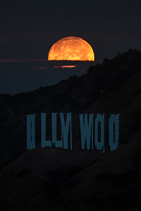 Supermoon set over the Hollywood sign, Los Angeles CA