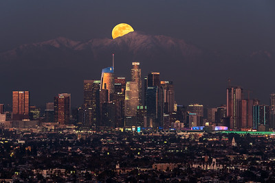 Wolf moon 2020 over Mt. Baldy, Los Angeles, CA