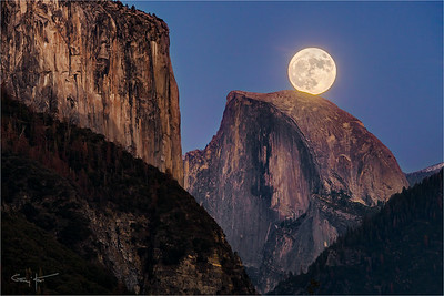 Supermoon, El Capitan and Half Dome, Yosemite