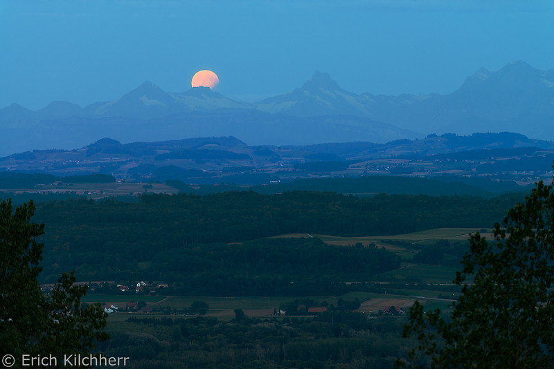 Lunar eclipse over the Alps