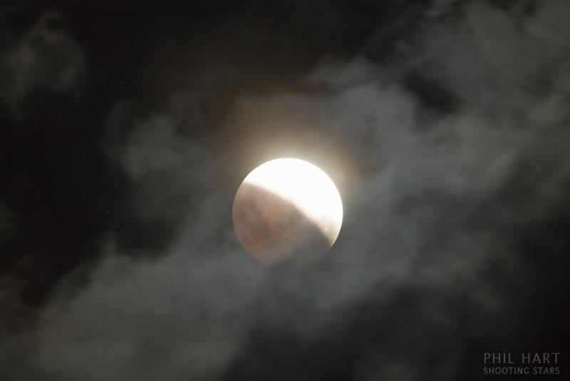 Lunar eclipse through clouds