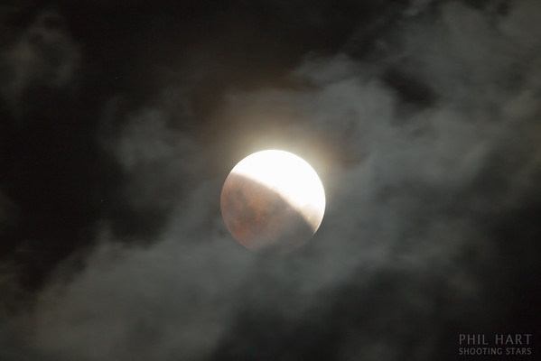 Lunar eclipse through clouds