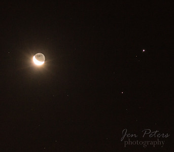 Moon, Mars and Jupiter (and a Jupiter Moon)