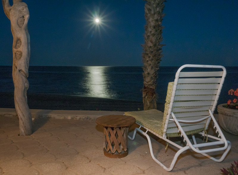 Full Moon Rising over Sea of Cortez as Seen From Palapa (Porch)