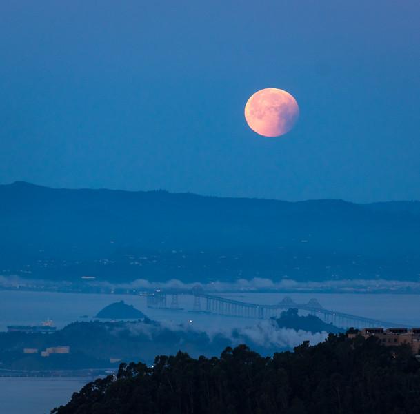 Super Moon Setting over Carquinez Bridge