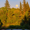 Full Moon Rising over Middle Fork Feather River at Sunset
