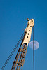 Rising Moon Bisected by Crane, Mare Island CA