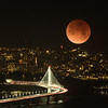 Full Super Moon in Eclipse over Bay Bridge (in-camera double exposure)