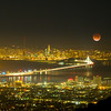 Full Moon in Eclipse over San Francisco (in-camera double exposure)