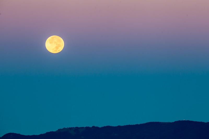 Full Moon Setting over Mt Tamalpais II, Berkeley CA