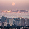 Downtown Oakland and Moon Setting over San Francisco