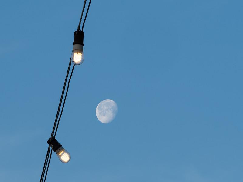 Morning Moonset and Lights around Lake Merritt, Oakland CA