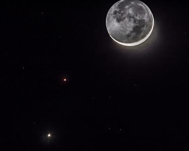 Moon, Venus and Mars