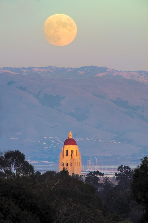 Moonrise over Hoover Tower