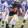 Southmoore quarterback Tre Edwards runs toward the end zone Friday during the Sabercats' game against Lions'  at Moore Stadium.  Edwards scored on the play.<br /> Kyle Phillips/The Transcript