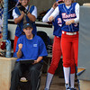 The Moore Lions' dug out celebrates Friday as players cross the plate bringing them the runs they need to beat Broken Arrow during the 6A state fast pitch softball tournament at the ASA Hall of Fame Stadium in Oklahoma City.<br /> Kyle Phillips/The Transcript